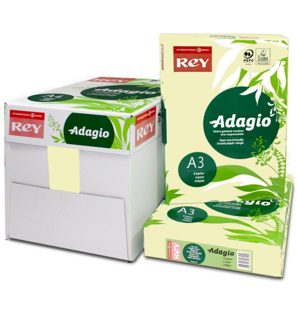 Adagio A3 Canary Pastel Yellow Coloured Printer Paper. Box & Ream