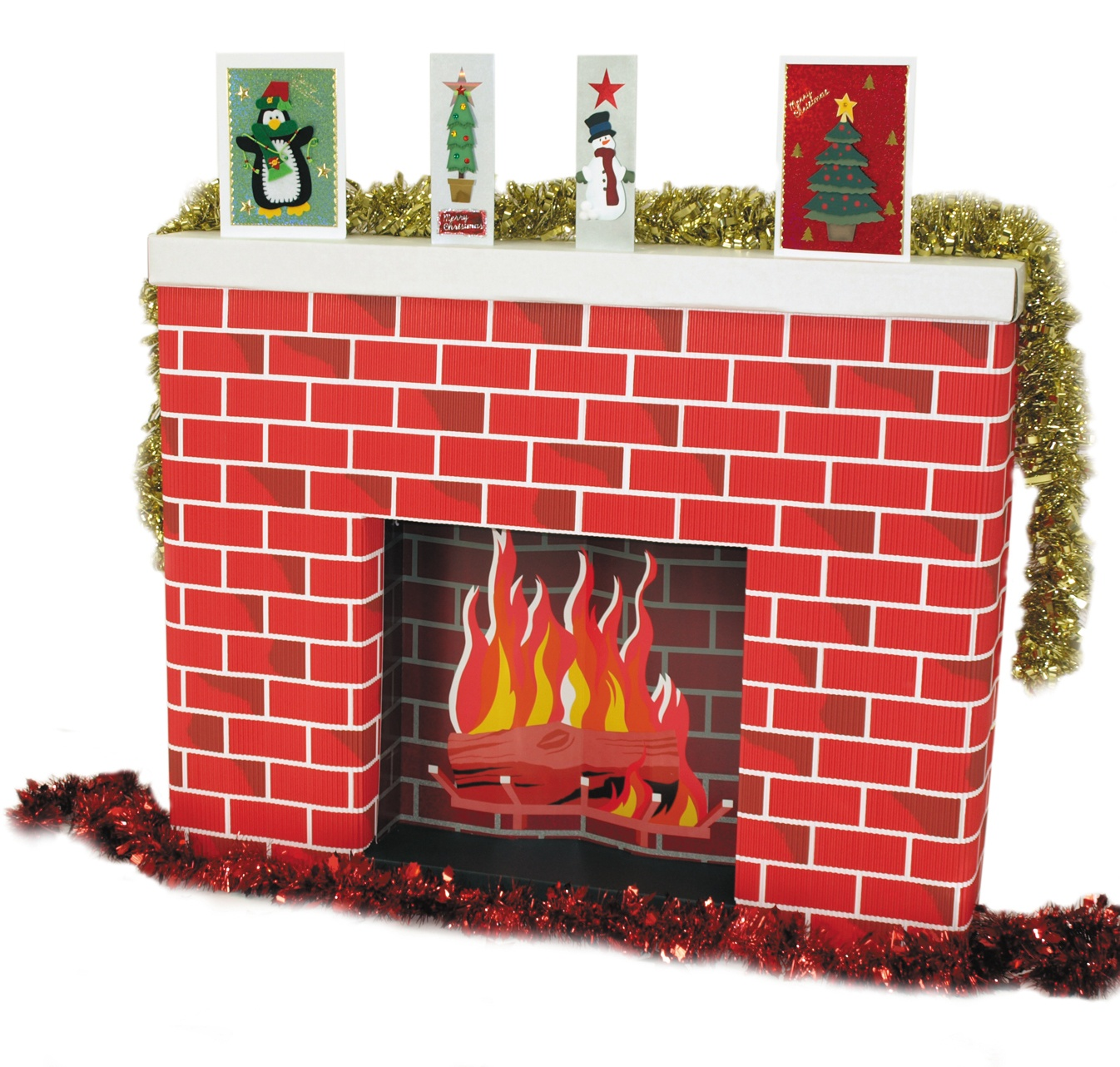 Life-size Christmas fireplace